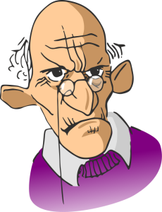 grumpy old man illustration