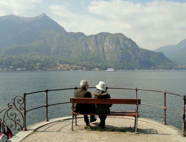 elderly couple in Bellagio, Italy